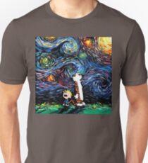 Calvin and hobbes Starry Night van Gogh Unisex T-Shirt