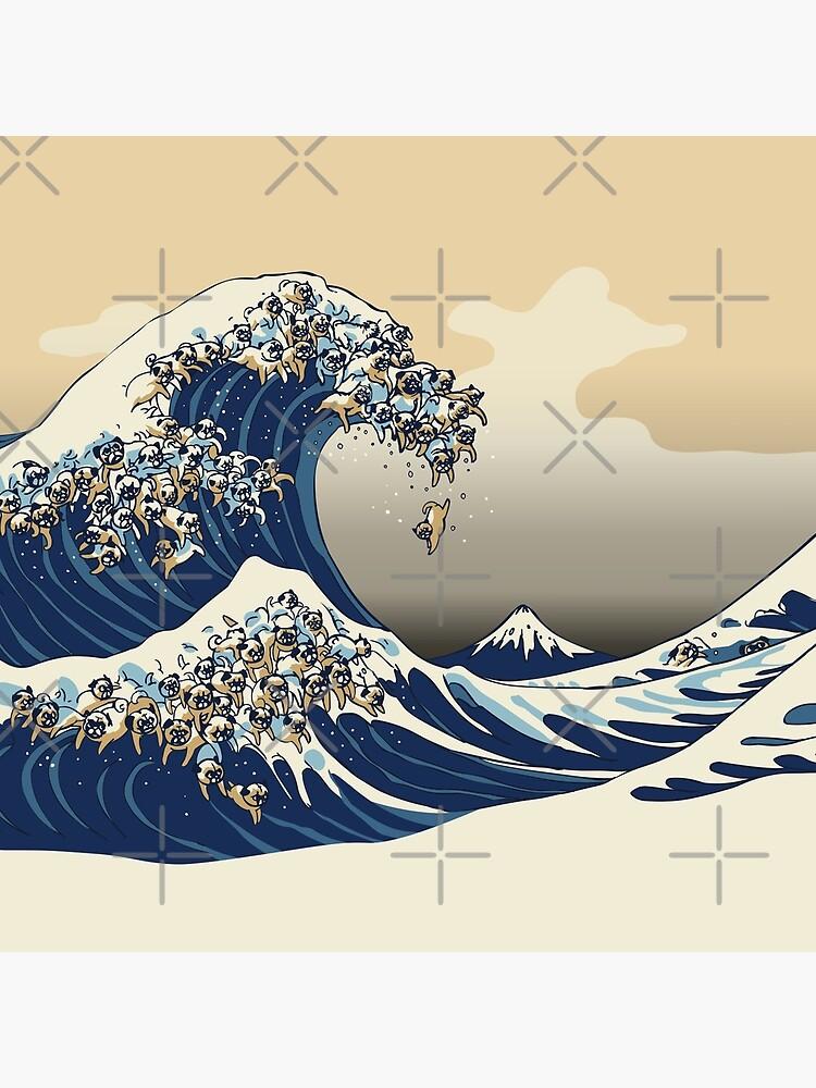 The Great Wave of Pugs Vanilla Sky by Huebucket