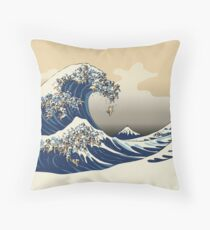 The Great Wave of Pugs Vanilla Sky Throw Pillow