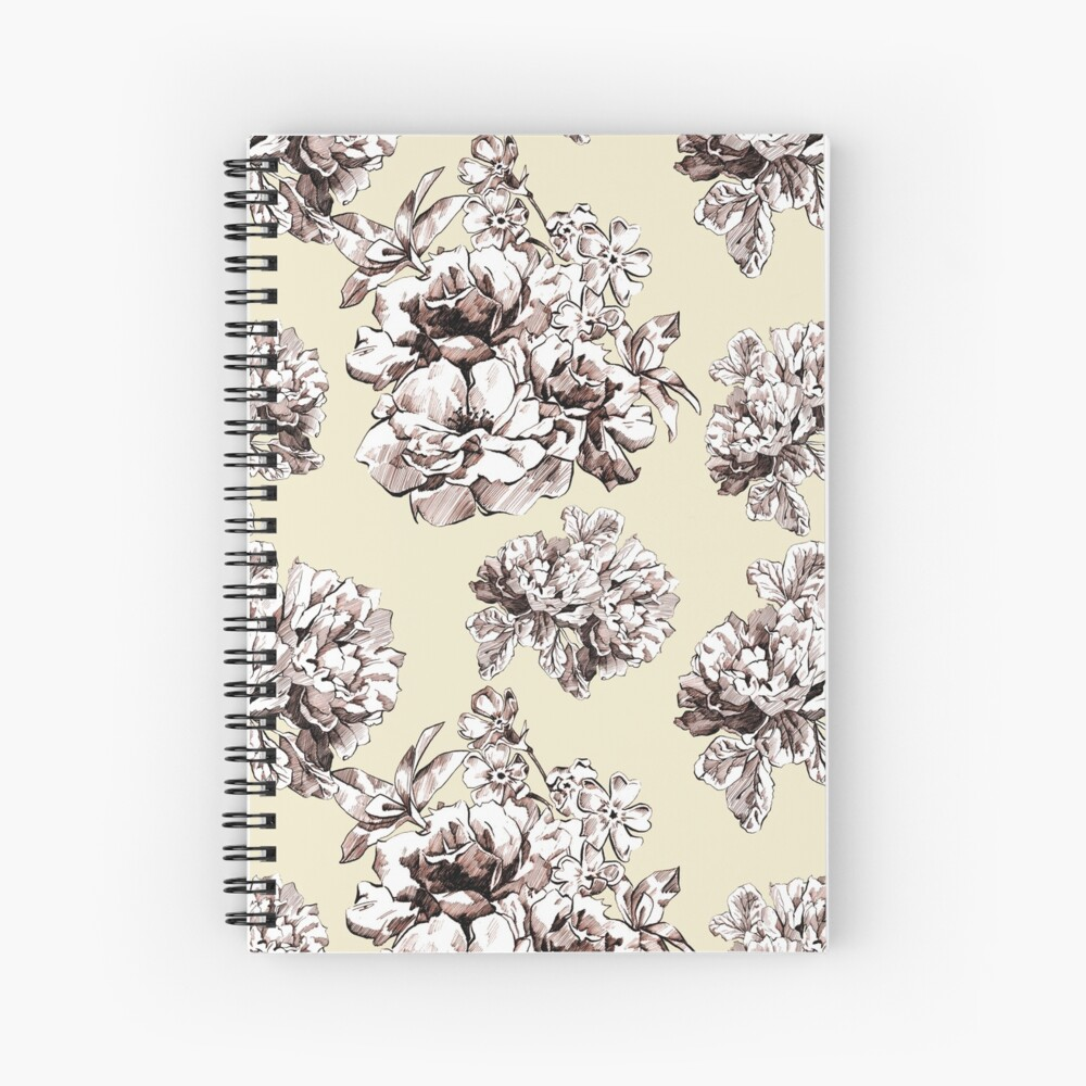 Inked flowers  Spiral Notebook
