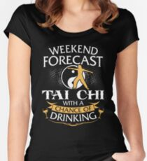 Weekend Forecast Tai Chi With A Chance Of Drinking Women's Fitted Scoop T-Shirt
