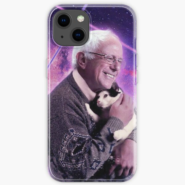 Bernie Sanders Halftone Cat in Space iPhone Soft Case