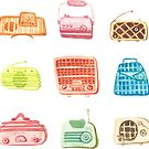 50's Vintage retro radio Pattern - colorful watercolor illustration  by Takoo chy