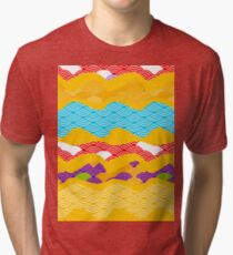 bright sunny pattern scales simple Nature background with Chinese wave circle pattern Tri-blend T-Shirt