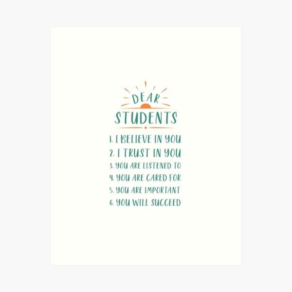 Dear Students, Loving Teacher Sign Art Print