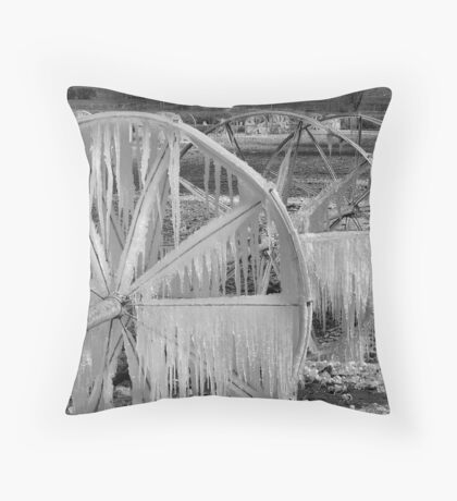 Frozen Wheels B&W Throw Pillow
