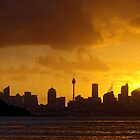Orange colors of Sydney skyline by Mrtweety
