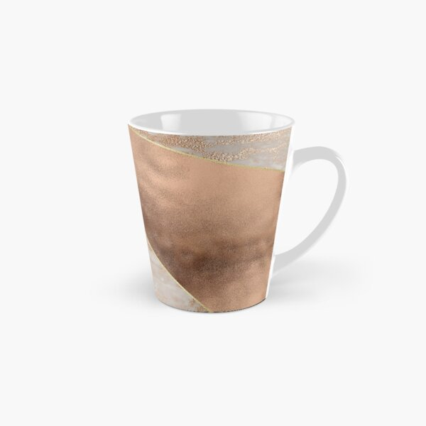 Copper Foil and Blush Rose Gold Marble Triangles Tall Mug
