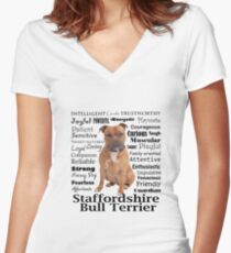 Staffordshire Bull Terrier Traits Women's Fitted V-Neck T-Shirt