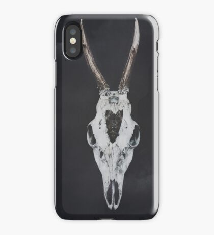 Roe Deer Skull with Death Hawk Moth iPhone Case