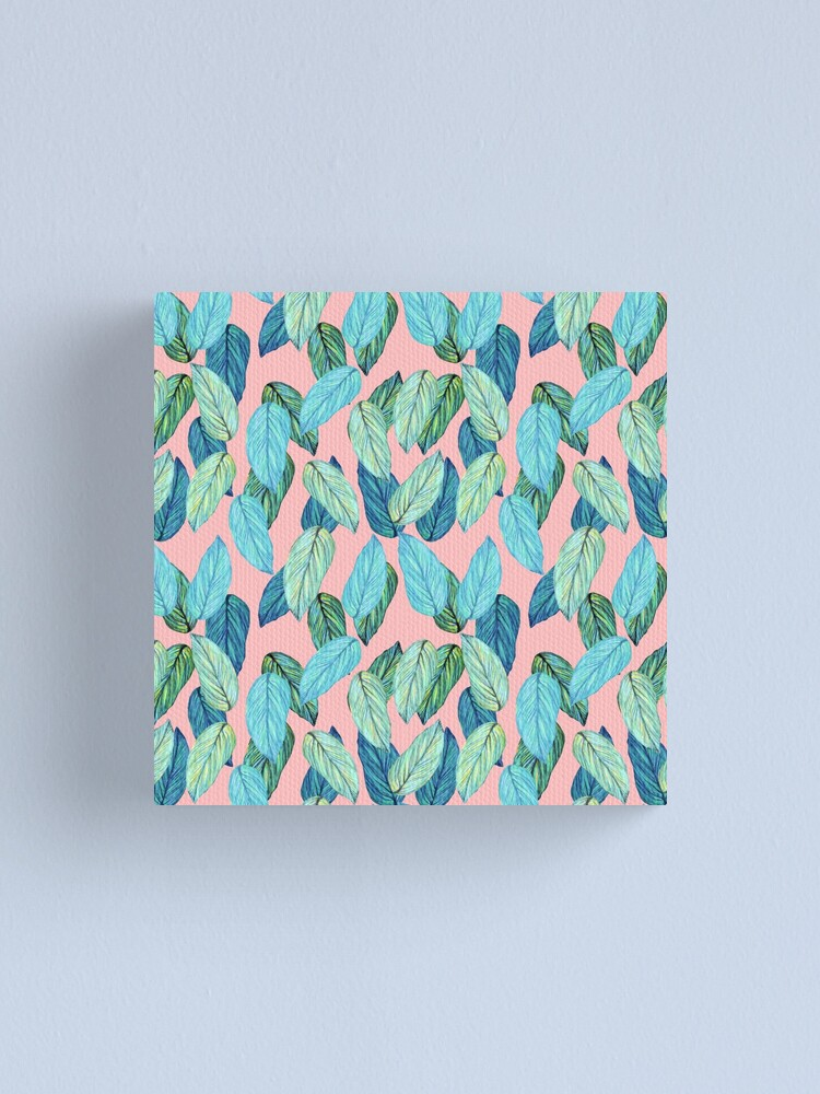 Alternate view of Tropical Leaves in Aqua and blue on coral Canvas Print