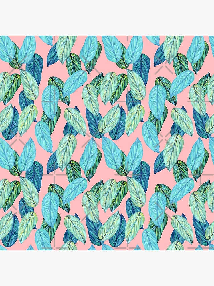 Tropical Leaves in Aqua and blue on coral by MagentaRose