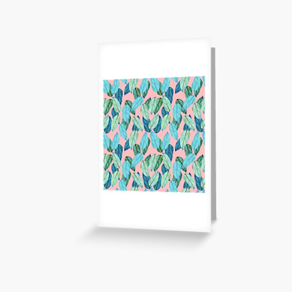 Palm Leaves in Aqua and blue on pink Greeting Card