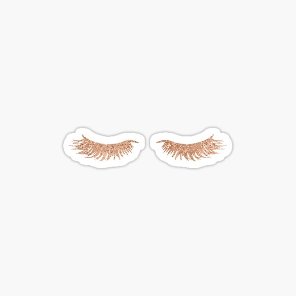 rose gold eye lashes Sticker