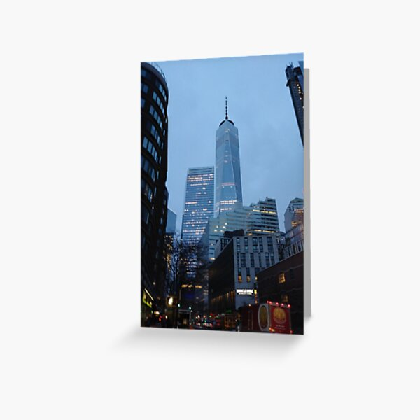 Manhattan, New York, city, Jersey City, view, buildings, water, shore, sky, ✈, plane, skyscrapers Greeting Card