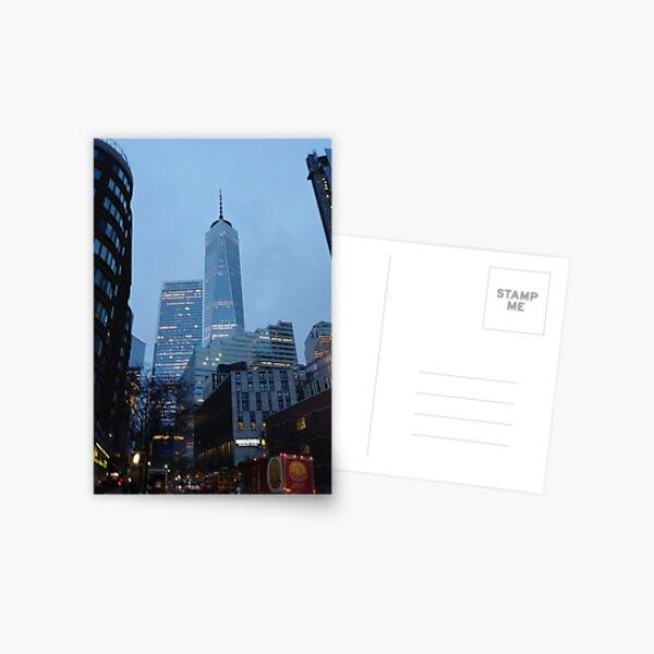 Manhattan, New York, city, Jersey City, view, buildings, water, shore, sky, ✈, plane, skyscrapers Postcard