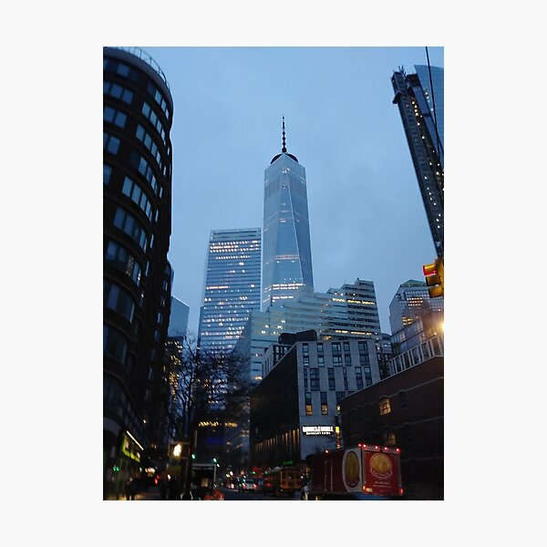 Manhattan, New York, city, Jersey City, view, buildings, water, shore, sky, ✈, plane, skyscrapers Photographic Print