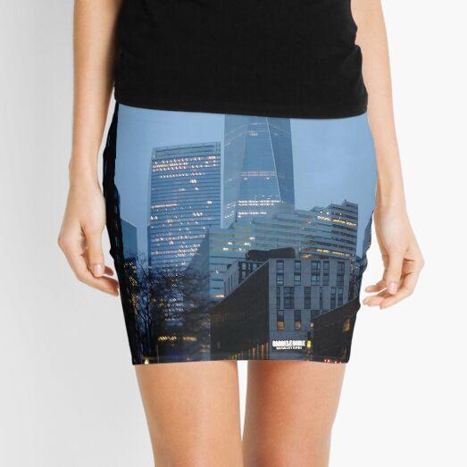 Manhattan, New York, city, Jersey City, view, buildings, water, shore, sky, ✈, plane, skyscrapers Mini Skirt