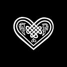 Celtic Heart - White on Black by Rose Gerard