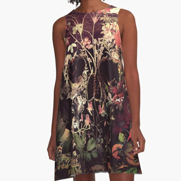 Bloom Skull A-Line Dress