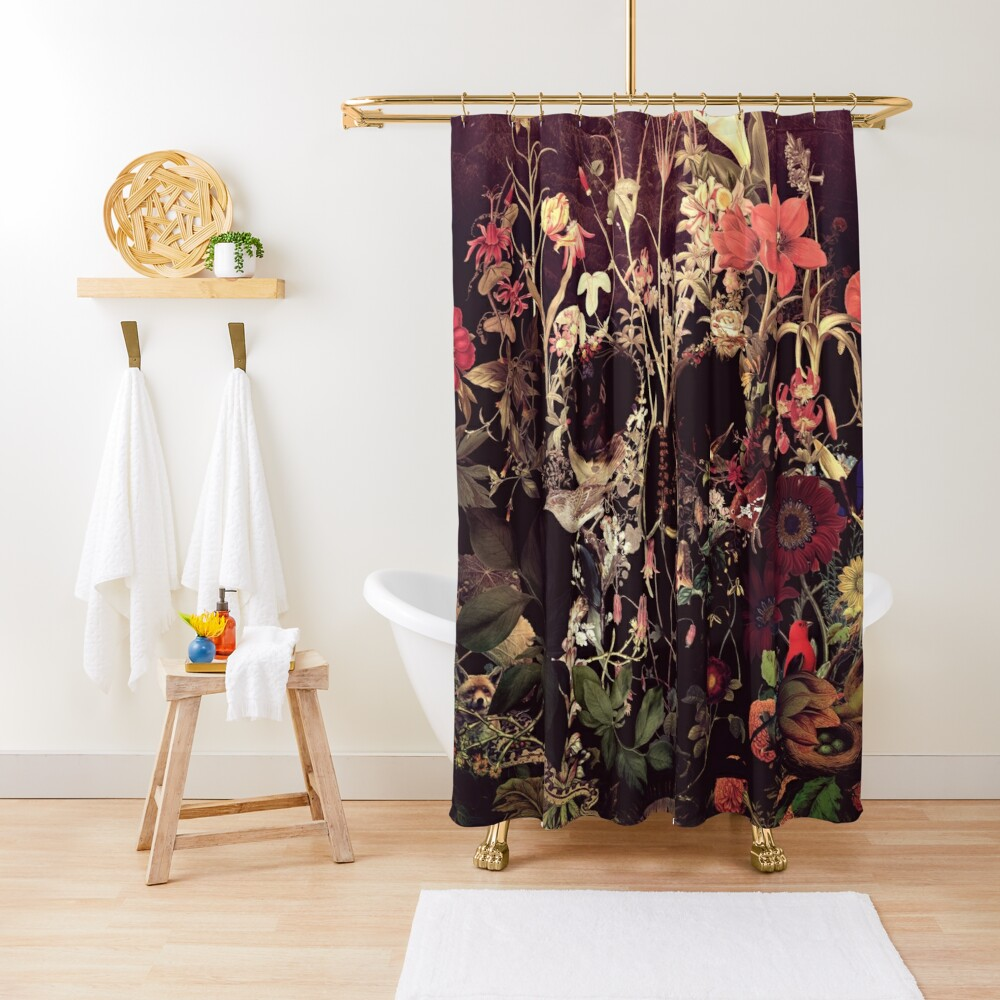 Bloom Skull Shower Curtain