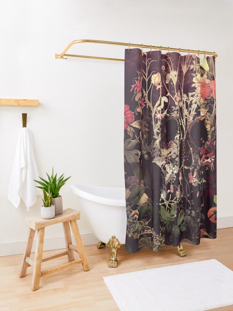 Alternate view of Bloom Skull Shower Curtain