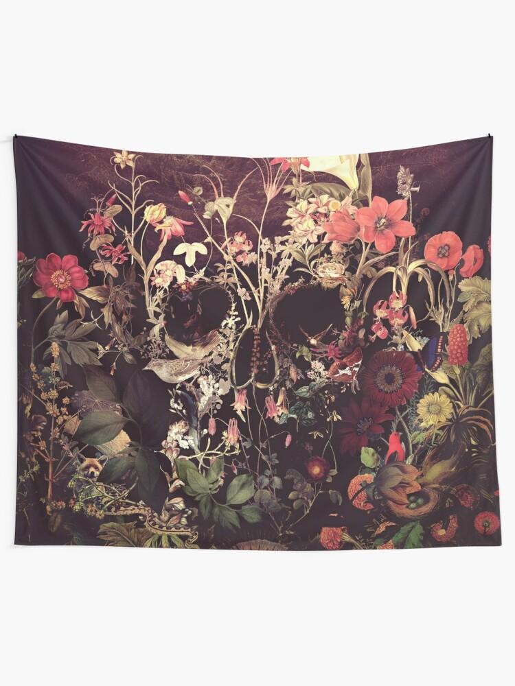 Alternate view of Bloom Skull Tapestry