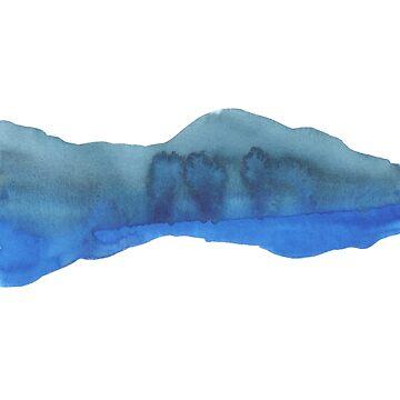 Horizon Blue and Green minimalist watercolour Art by Fangpunk