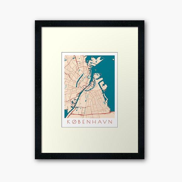 Copenhagen / Kobenhavn City Map Framed Art Print