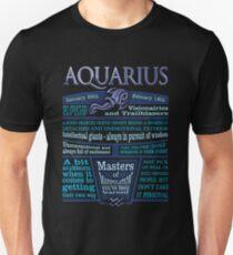 Aquarius Zodiac Star Sign Astrology Blue Unisex T-Shirt