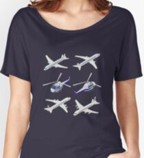 Passenger Airplane. Passenger Helicopter. Isometric Transportation. Aircraft Vehicle.  Women's Relaxed Fit T-Shirt