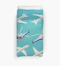 Passenger Airplane. Passenger Helicopter. Isometric Transportation. Aircraft Vehicle.  Duvet Cover