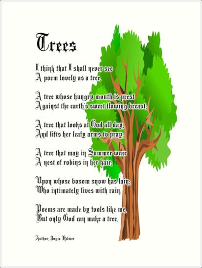 trees poem author joyce kilmer art prints by tom hill designer