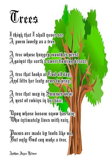 trees poem author joyce kilmer posters by tom hill designer