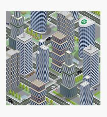 Isometric Architecture. Business City. Cityscape with Scyscrapers. Isometric Transportation.  Photographic Print