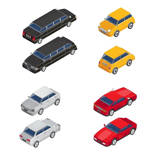 Isometric Transportation. Limousine Car. Sport Car. City Car.  by ivector