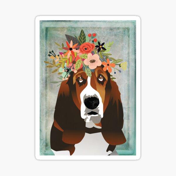 Basset Hound Wearing a Flower Crown Illustration Sticker