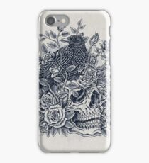 Monochrome Floral Skull iPhone Case/Skin