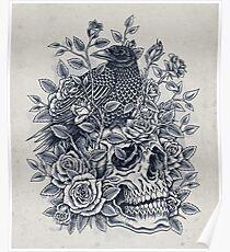 Monochrome Floral Skull Poster