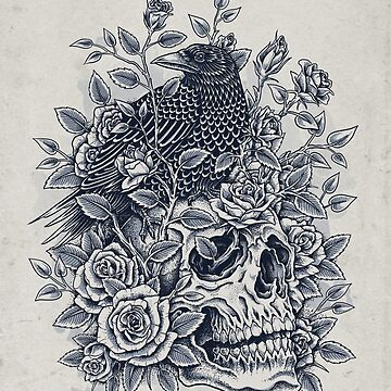 Monochrome Floral Skull by HINKLE