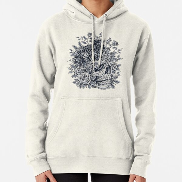 Monochrome Floral Skull Pullover Hoodie