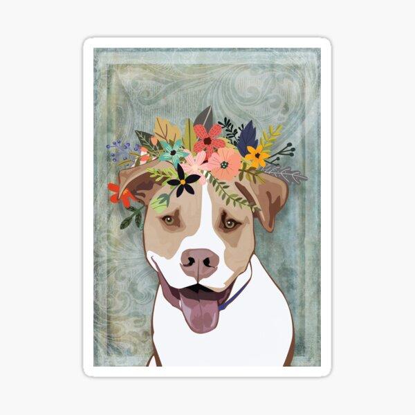 American Bulldog Wearing a Flower Crown Sticker