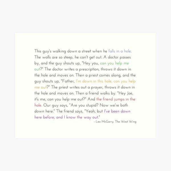 Leo McGarry's Guy Falls in a Hole Speech Art Print