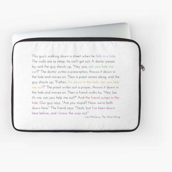 Leo McGarry's Guy Falls in a Hole Speech Laptop Sleeve
