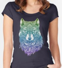 Abstract Wolf Women's Fitted Scoop T-Shirt