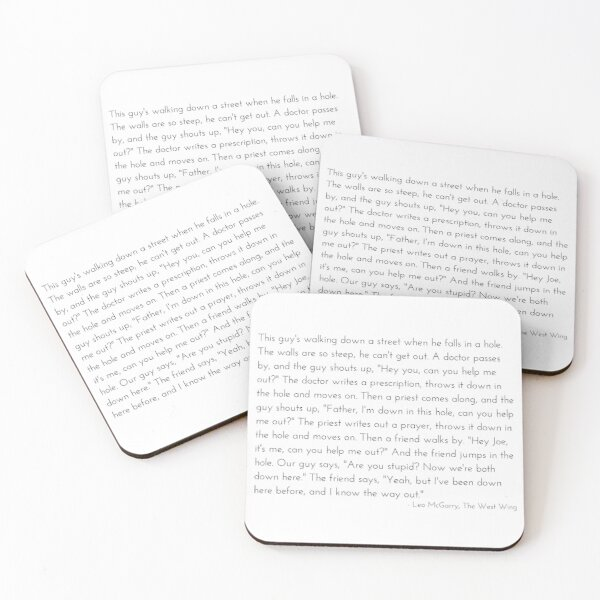 Leo McGarry's Man Falls in a Hole Speech - The West Wing Coasters (Set of 4)