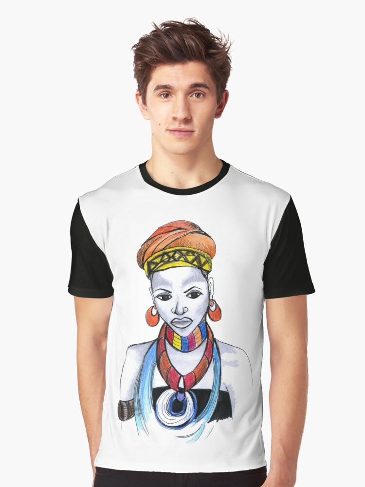 African Design Shirts   African Woman Art African Design I Love Africa Graphic T Shirt By