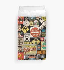 Old Americana Road Signs On Black Duvet Cover