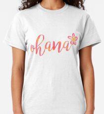 Camiseta clásica Ohana Hawaii Plumeria Acuarela Floral