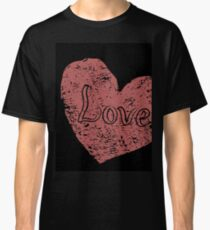 Red grunge hearts on black Classic T-Shirt